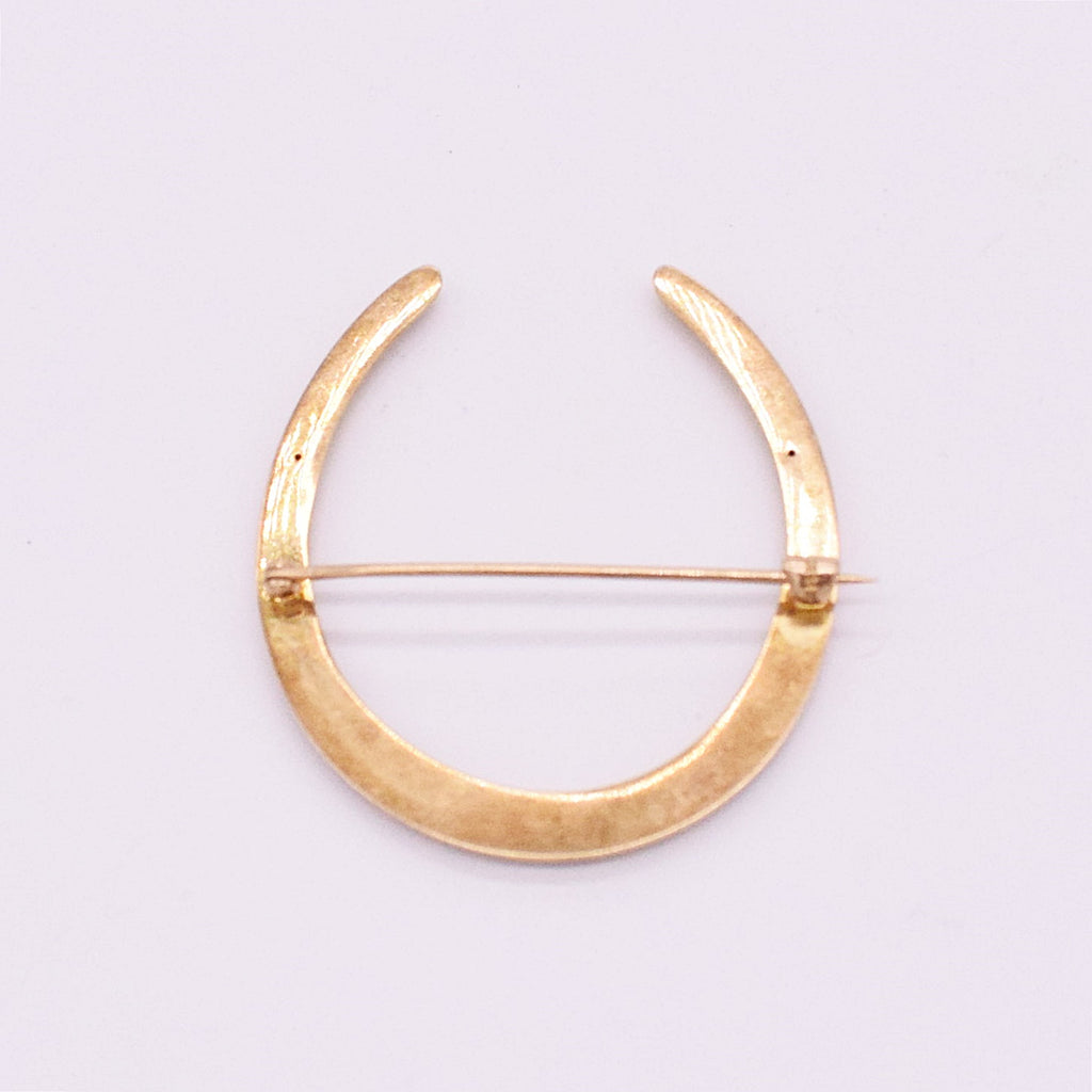 14k Yellow & WG Antique Lucky Horseshoe Brooch