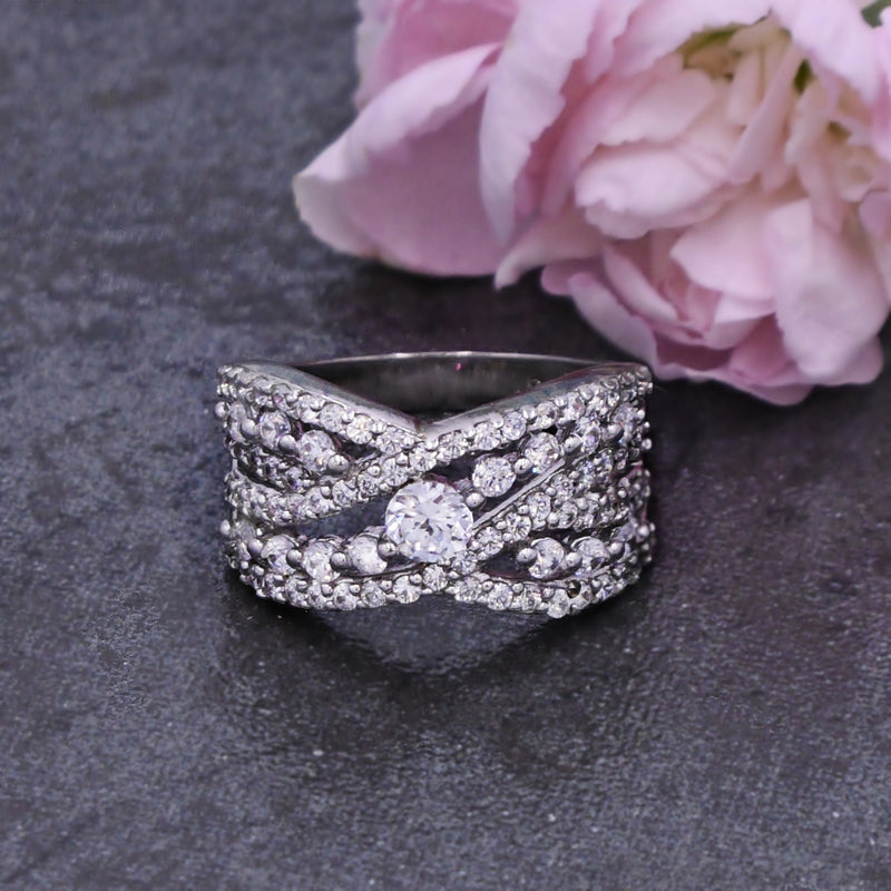NEW Sterling Silver 925 Esposito Diamonique Criss Cross Ring Size 9