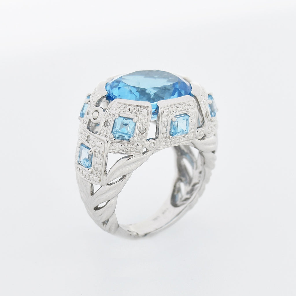 10k White Gold Fancy Wide Blue Topaz & White Sapphire Ring Size 6.75