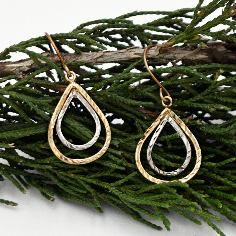 10k Y & W Gold Estate Double Teardrop/Pear Dangle/Drop Earrings