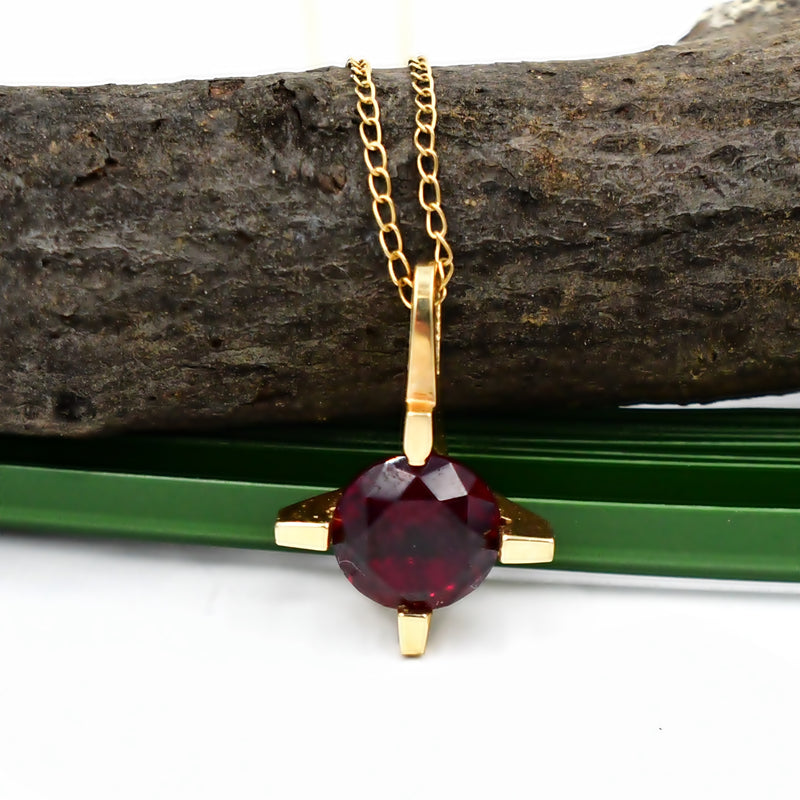 14k Yellow Gold Ruby Gemstone Four Prong Setting Chain/Necklace 18 1/2