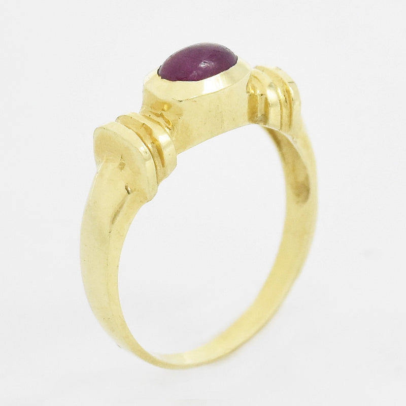 14k Yellow Gold Estate Cabochon Ruby Ring Size 6