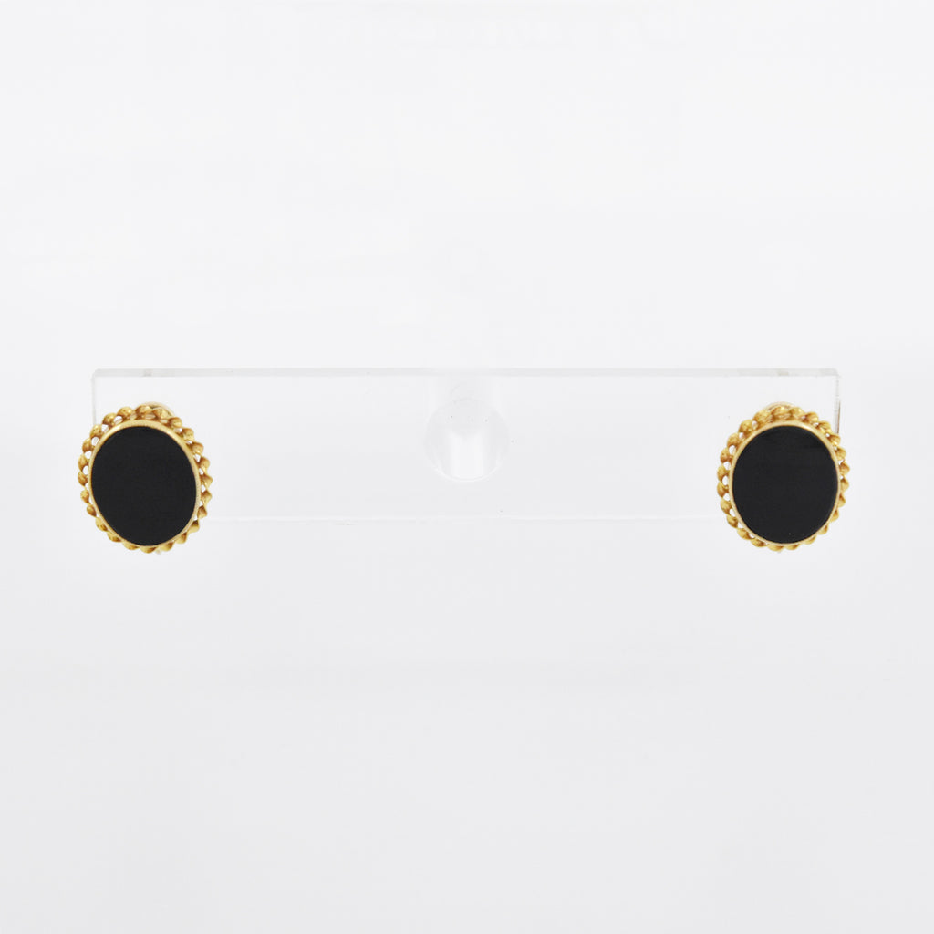 10k Yellow Gold Estate Oval Black Onyx Screw Back Earrings