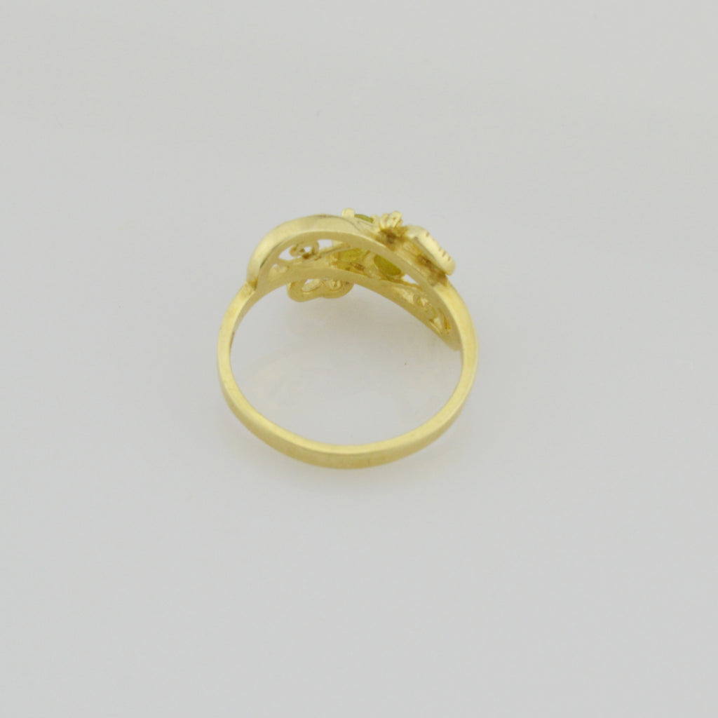 14k Yellow Gold Estate Open Work Peridot Heart Love Ring Size 6