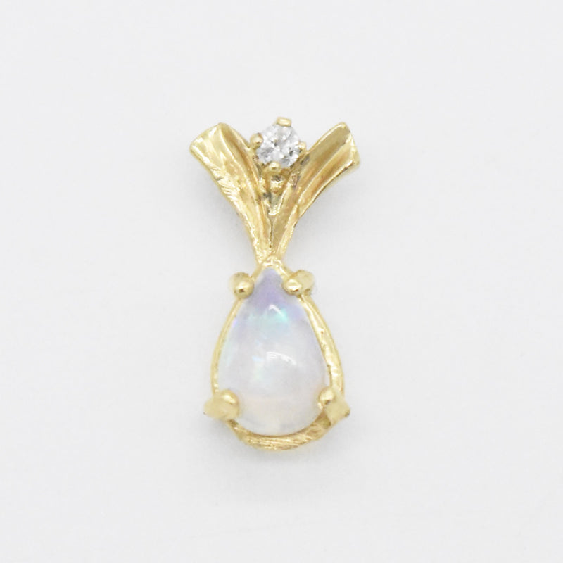 14k Yellow Gold Estate Fire Opal & Diamond Pendant