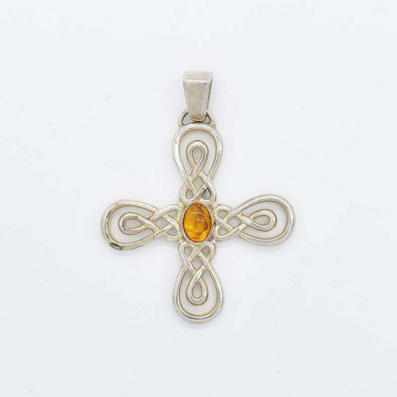Sterling Silver 925 Open Work Swirl Orange Gemstone Cross Pendant
