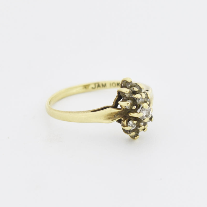 10k Yellow Gold Estate Diamond Cluster Ring Size 6