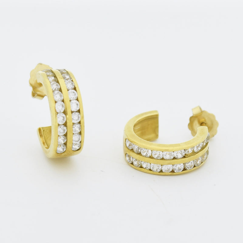 18k Yellow Gold Estate White Gemstone Hoop Post Earrings