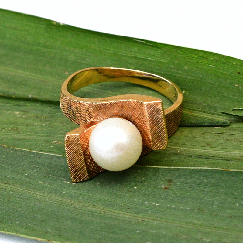 14k Yellow Gold Mid Century Modern Textured Pearl Wrap Ring Size 5