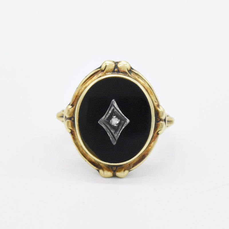 10k Yellow Gold Vintage Black Onyx Rose Cut Diamond Ring Size 5.5
