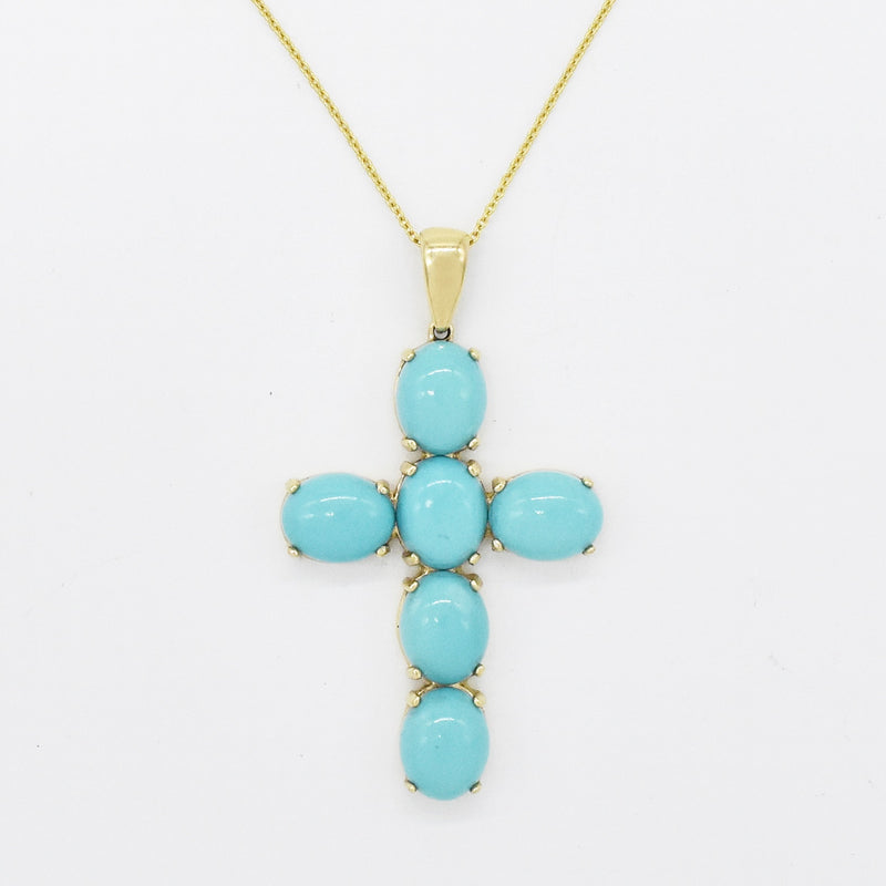 "14k Yellow Gold Estate 16"" Turquoise Cross Necklace"