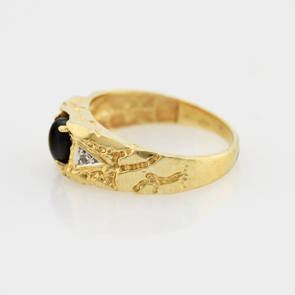 10k Yellow Gold Nugget Black Sapphire & Diamond Ring Size 7.25