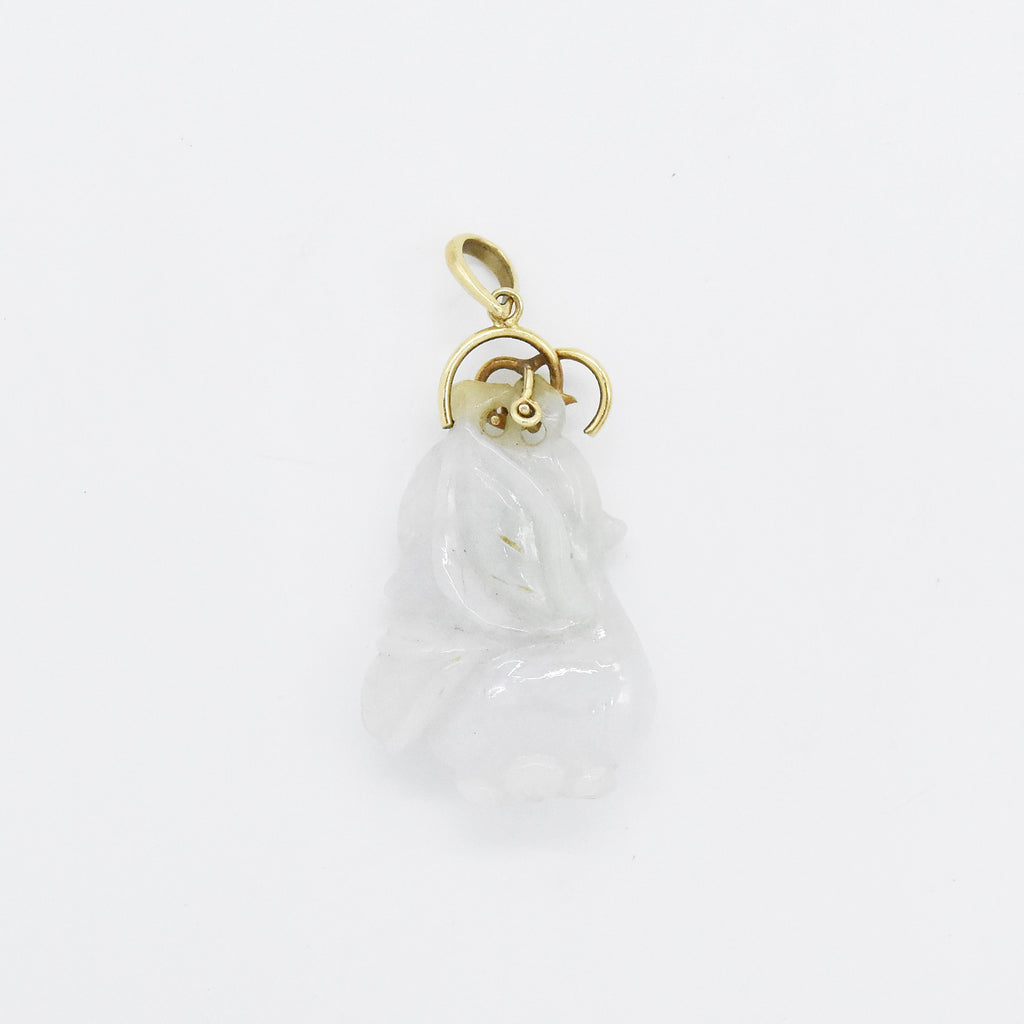 14k Yellow Gold Estate Carved White Jade Pendant