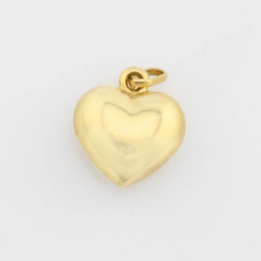 14k Yellow Gold Estate Diamond Cut Puffy Heart Charm/Pendant