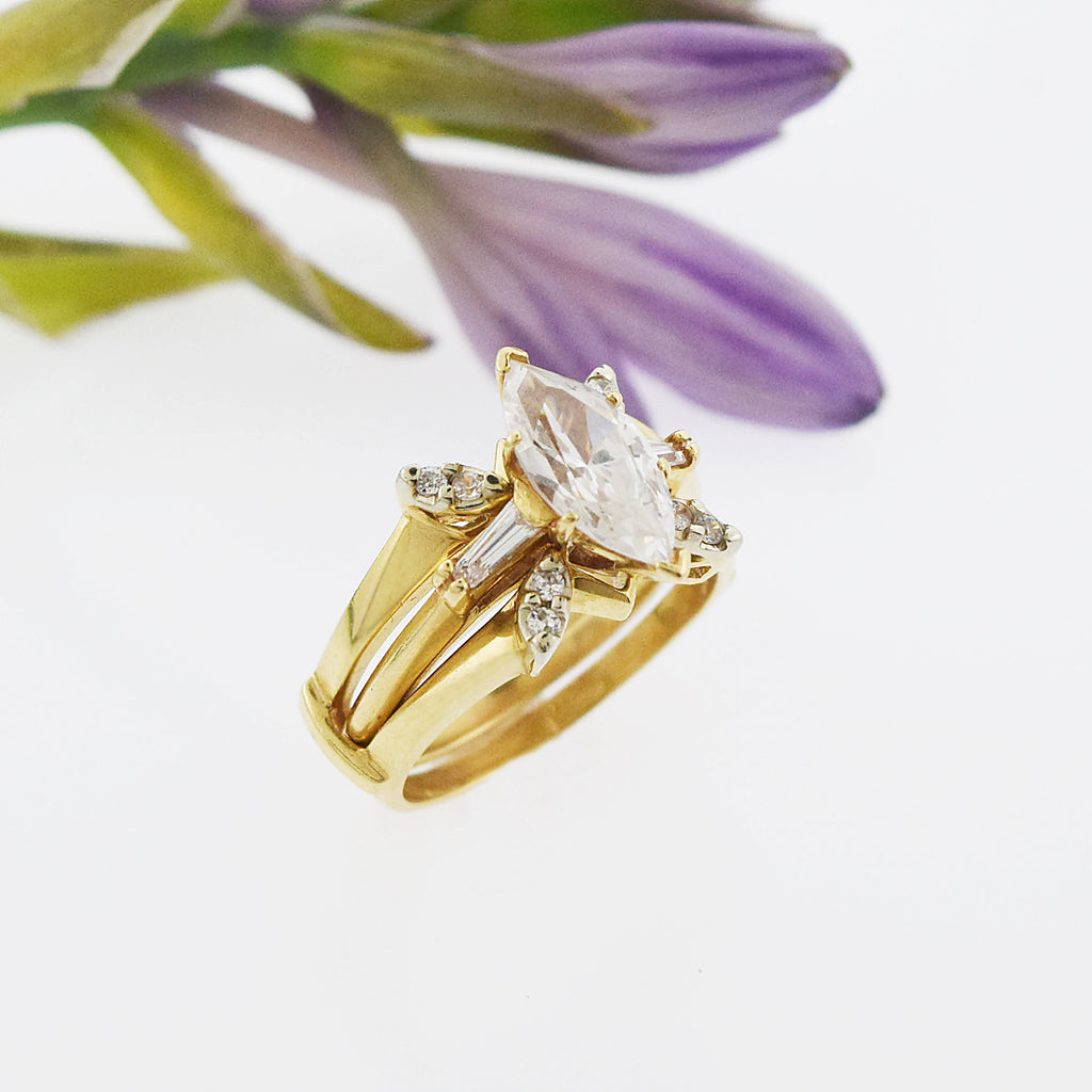 14k Yellow Gold Estate Triple Band CZ Cocktail Ring Size 7.25