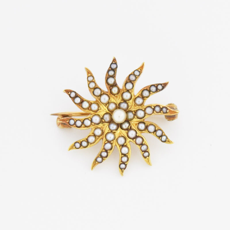 14k Yellow Gold Antique Seed Pearl Sunburst Pin/Brooch