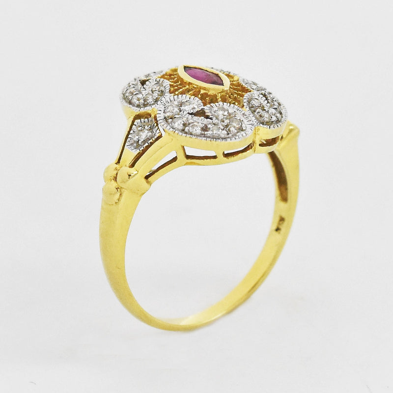 18k Yellow White Gold Ruby & Diamond Ring Size 7.75