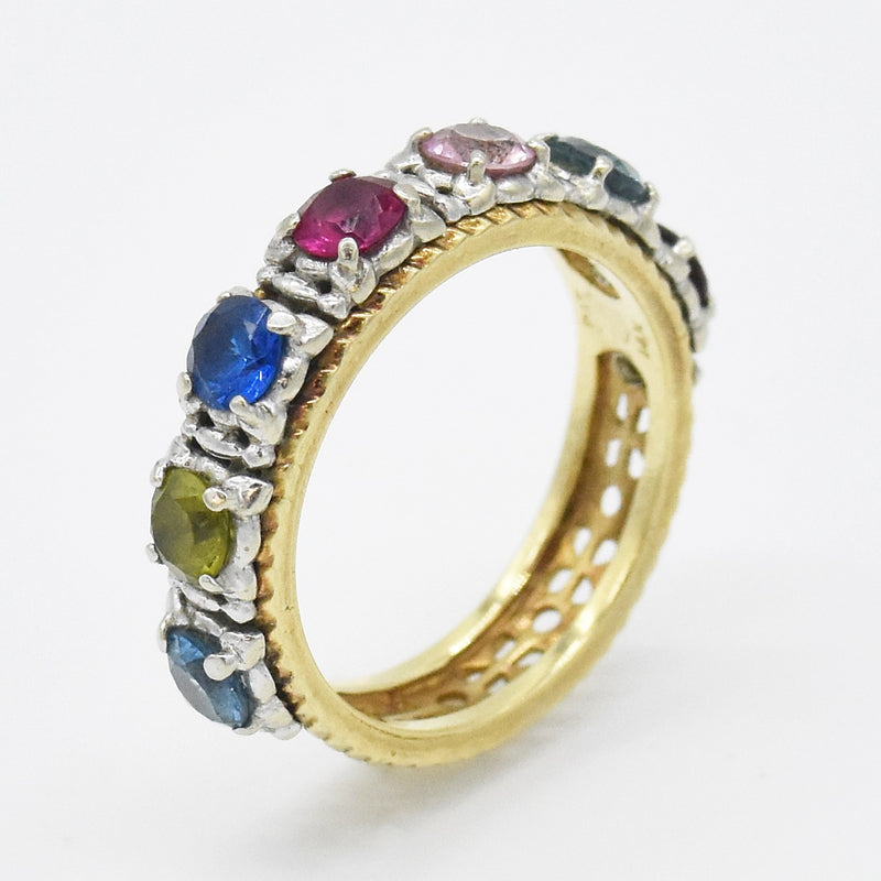 14k Yellow & White Gold Multi Colored Gemstone Band/Ring Size 8.25