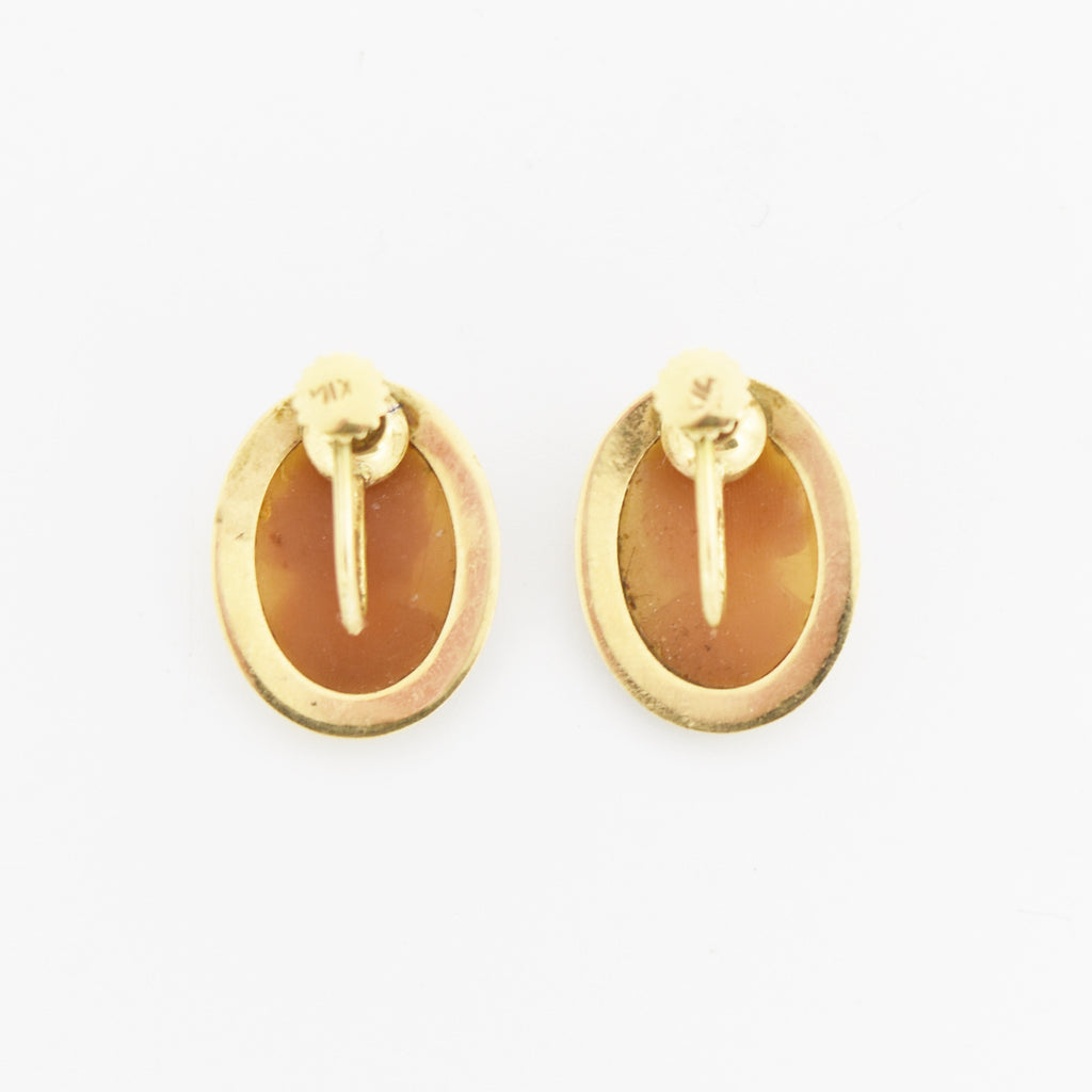 14k Yellow Gold Vintage Oval Carved Cameo Screwback Earrings
