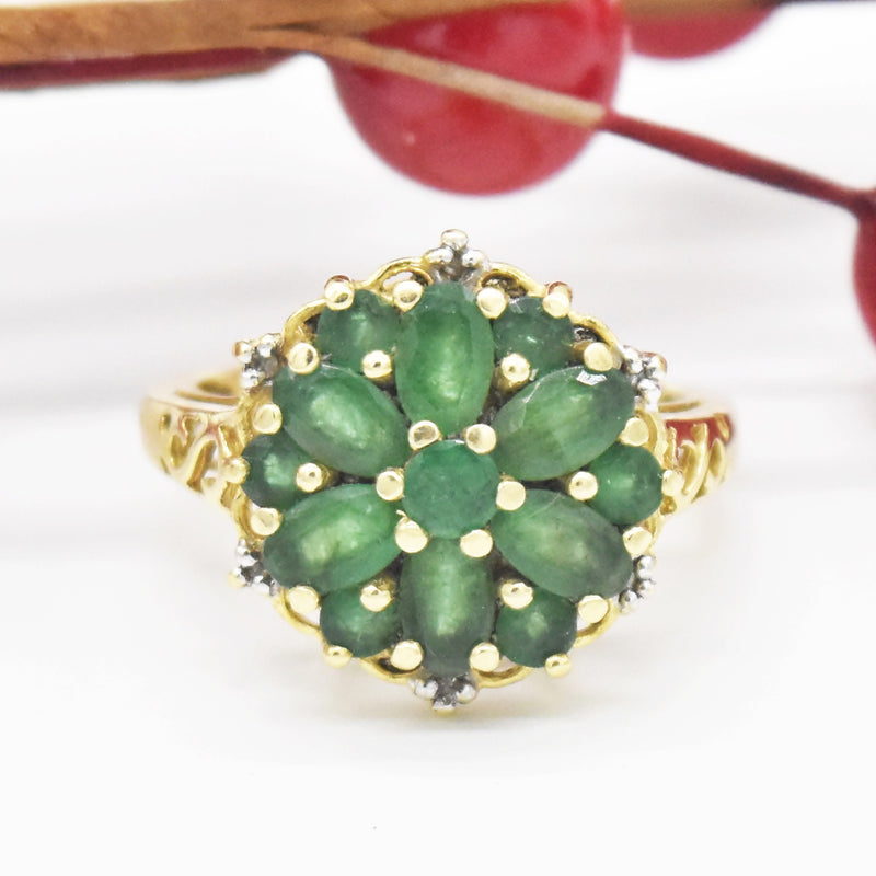 14k Yellow Gold Estate Open Work Emerald Cluster Ring Size 6