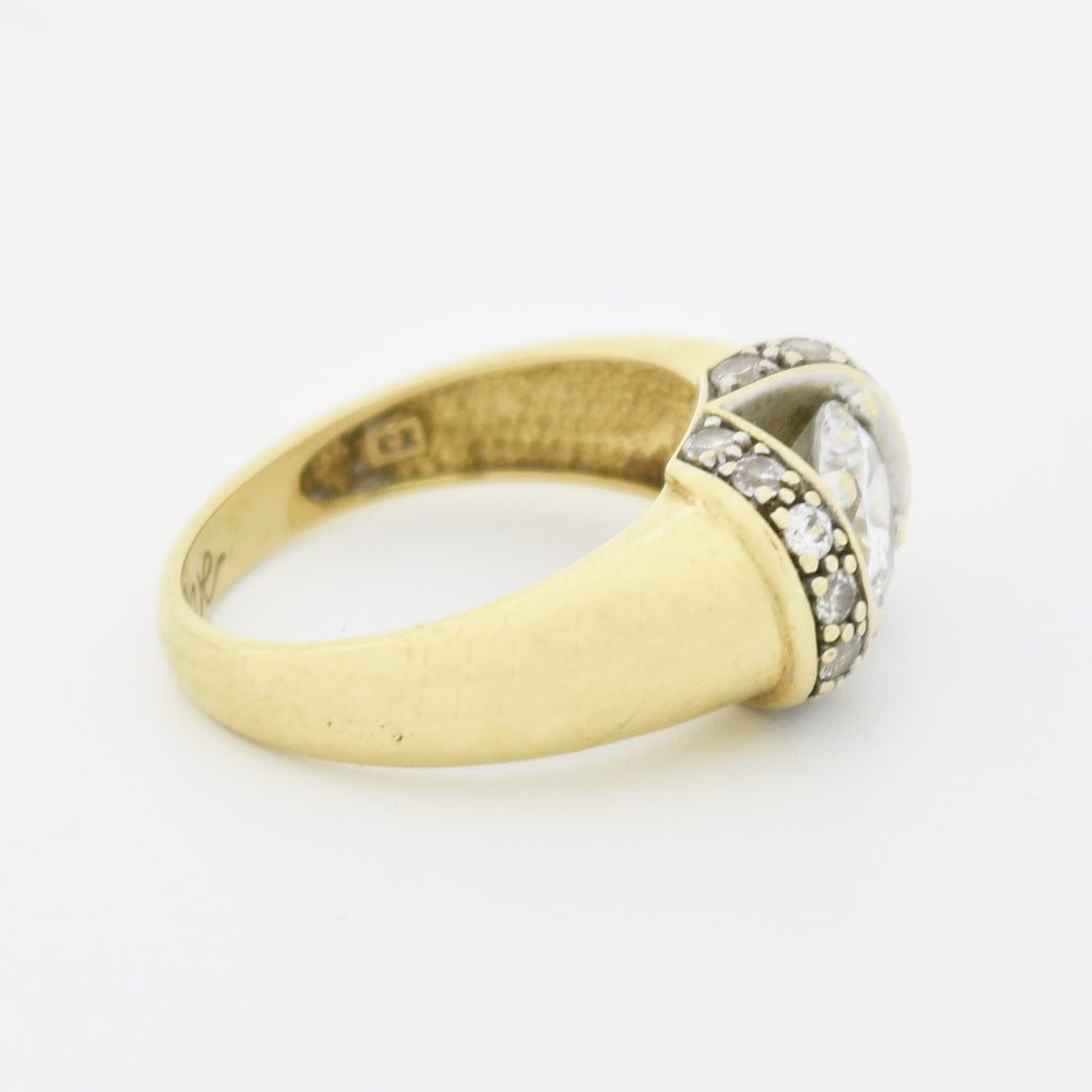 14k Yellow Gold Estate CZ Cocktail Ring Size 6.25