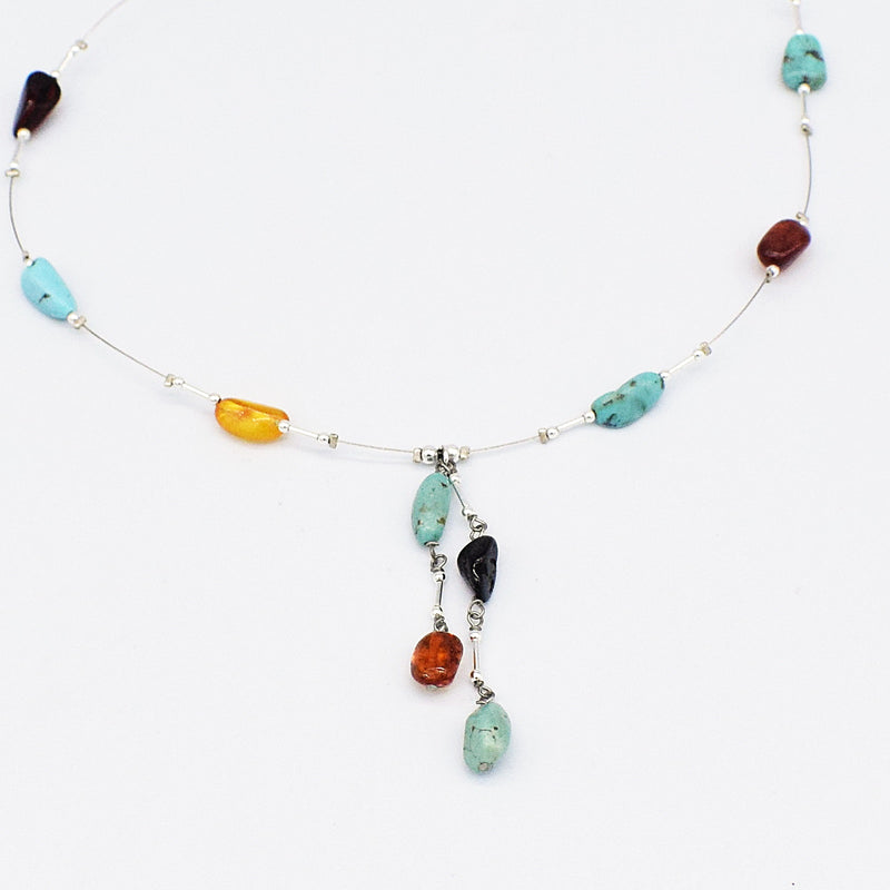 "NEW SS Valerio 21"" Turquoise & Amber Dangle/Drop Necklace"