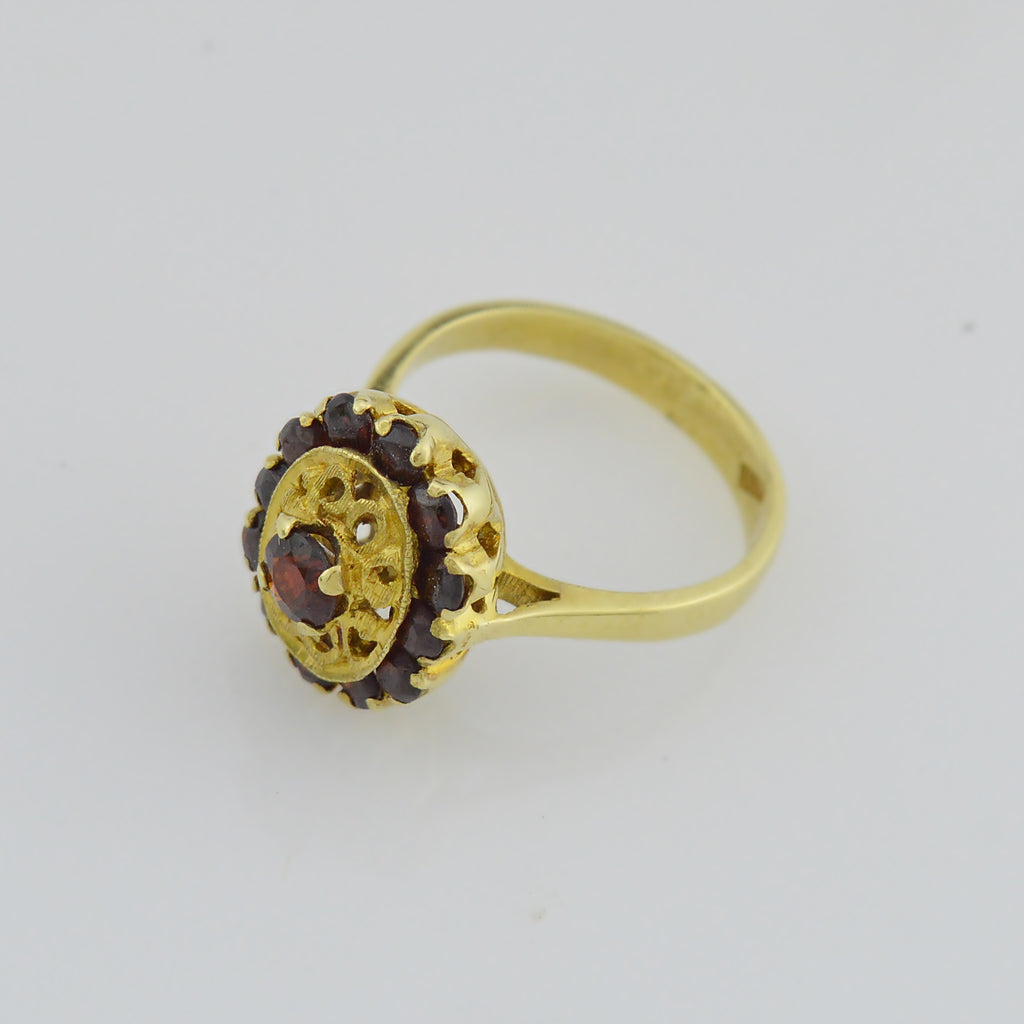 18k Yellow Gold Estate Ornate Garnet Multistone Ring Size 6