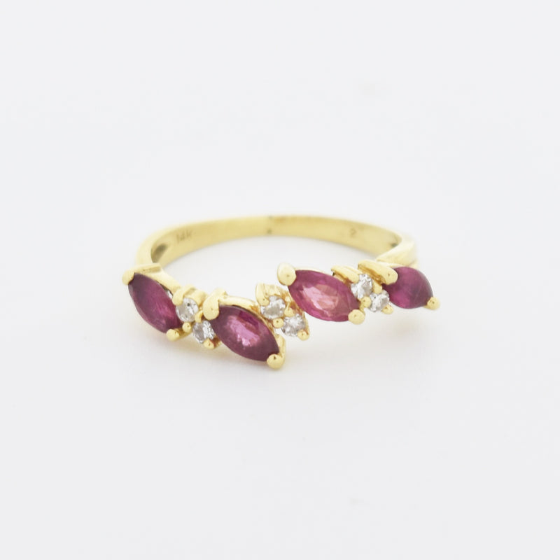 14k Yellow Gold Estate Curved Ruby & Diamond Band/Ring Size 6