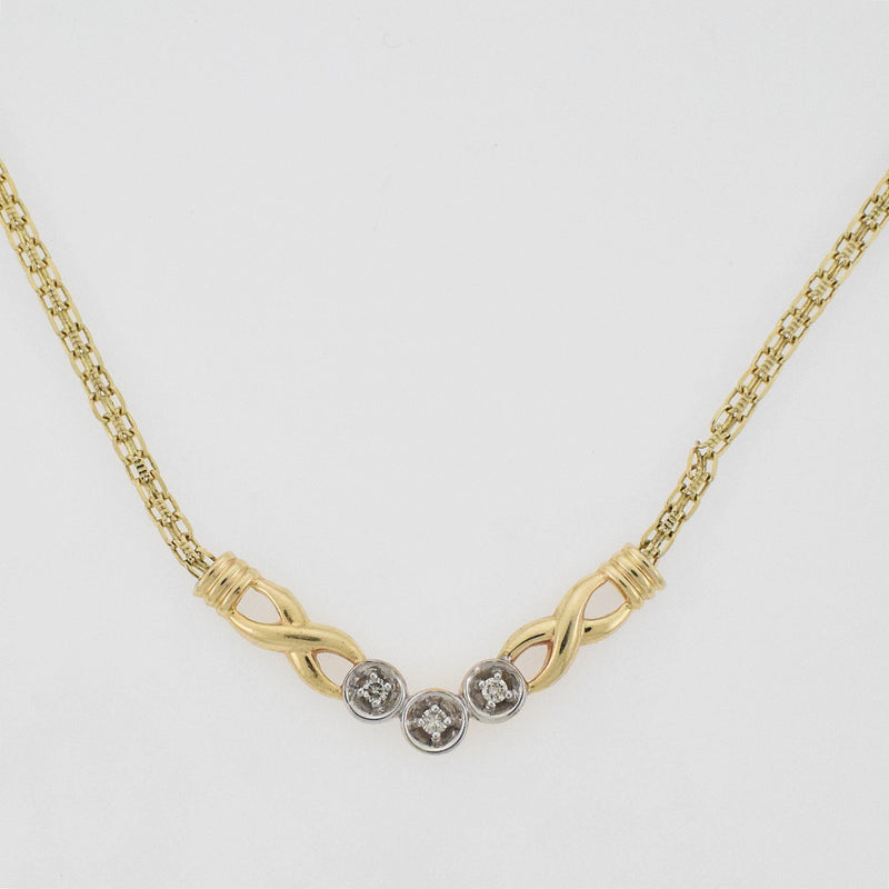 "10k Yellow & WG 16"" Diamond 0.09 tcw Circle Choker Necklace"