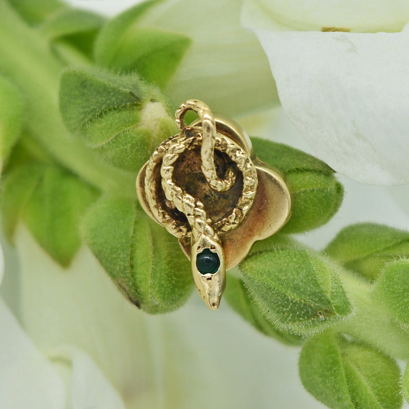 14k Yellow Gold Antique Green Eyed Carved Snake Slide