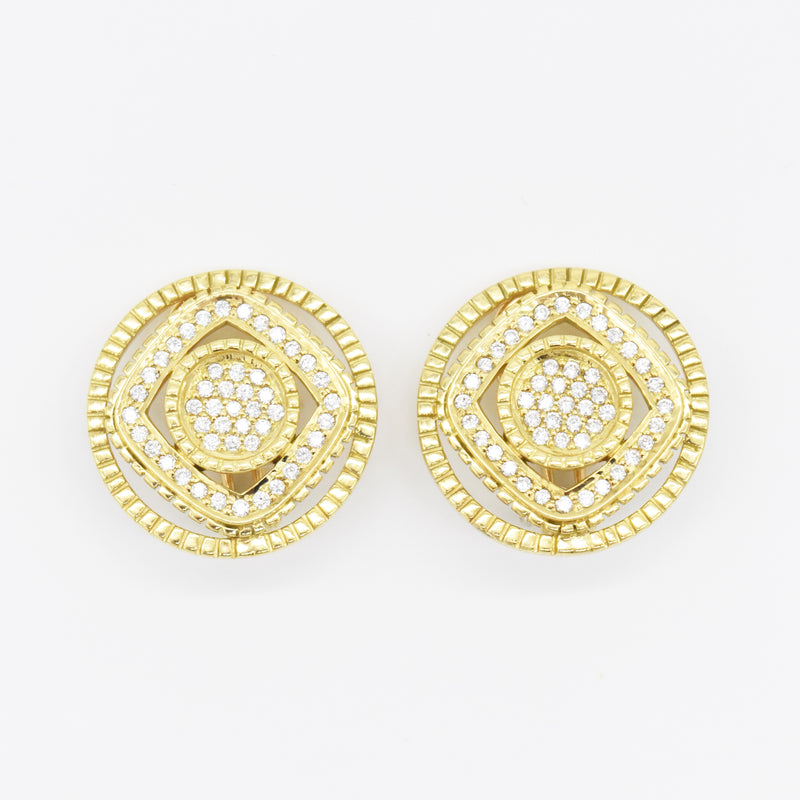 18k Yellow Gold Estate ANF Circle Diamond Omega Back Clip On Earrings