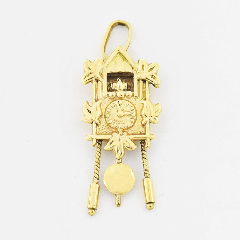 14k Yellow Gold Estate Textured Cuckoo Clock Pendant/Charm