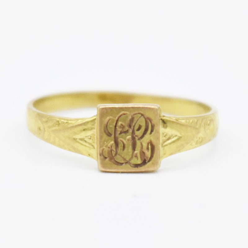 10k Yellow Gold Antique Initial Child/Baby Ring Size 1