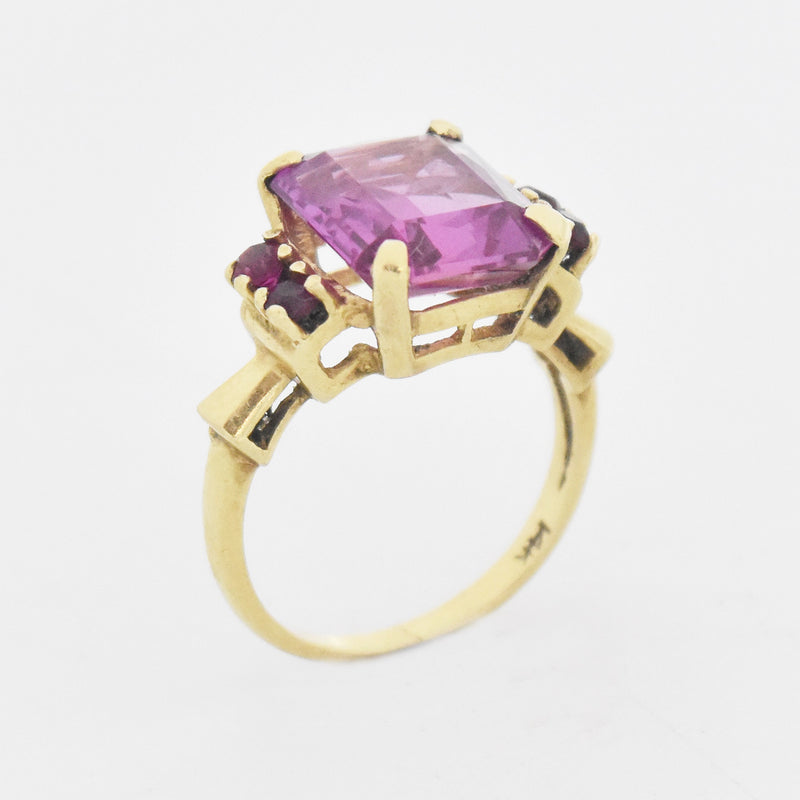 14k Yellow Gold Vintage Pink Sapphire Cocktail Ring Size 7