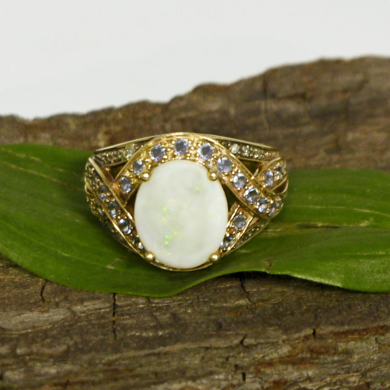 10k Yellow Gold Opal Tanzanite & Diamond Cocktail Ring Size 8.25