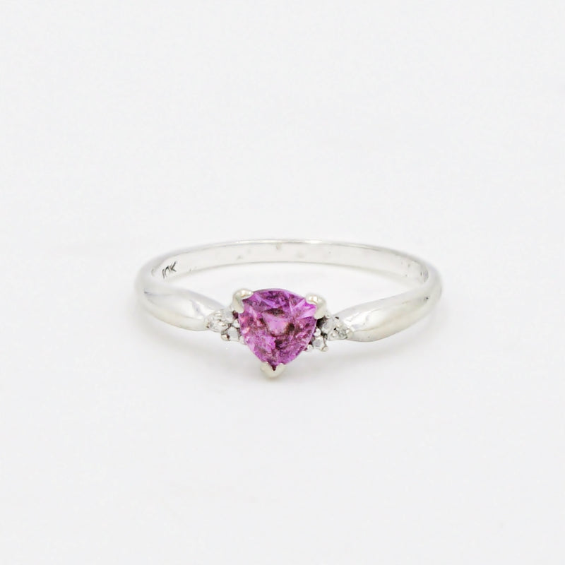 10k White Gold Estate Pink Sapphire Gemstone & Diamond Ring Size 7.25