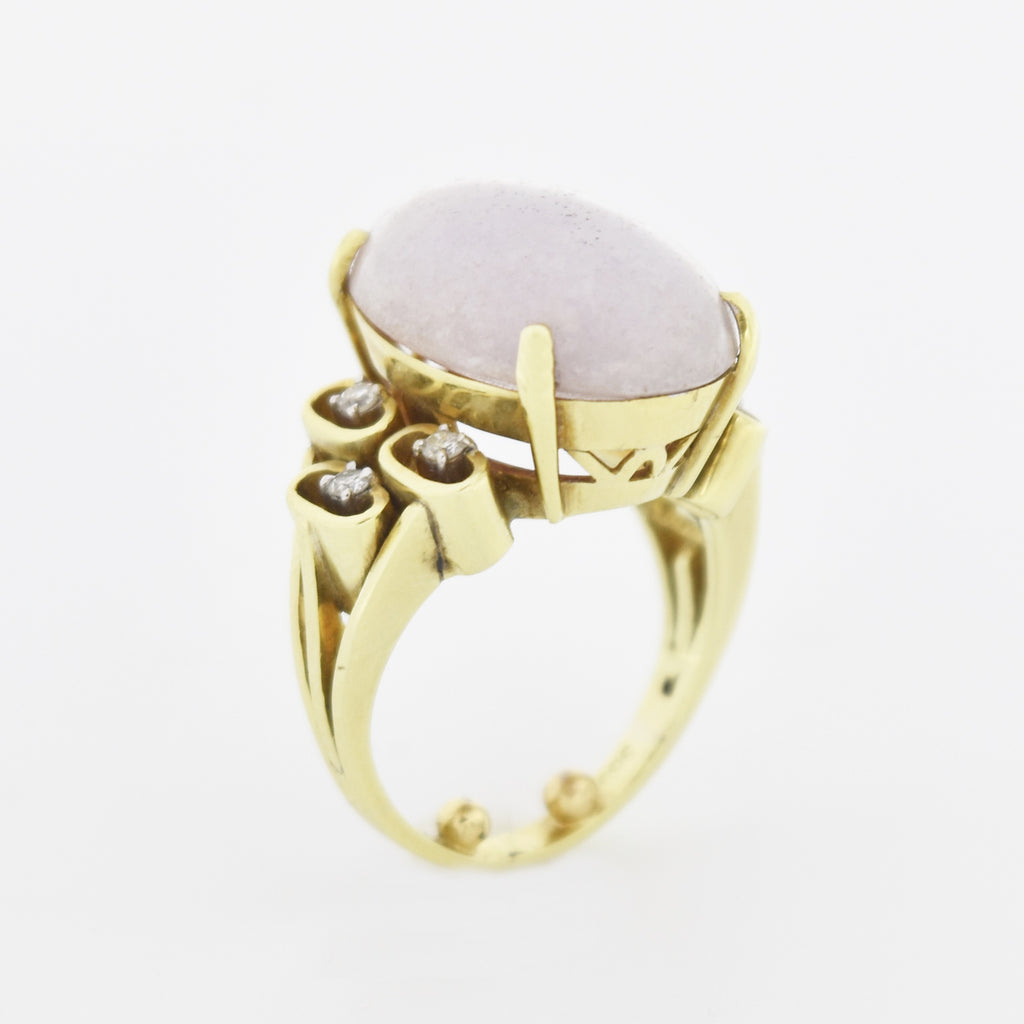 14k Yellow Gold Estate Oval Lavender Jade & Diamond Ring Size 6
