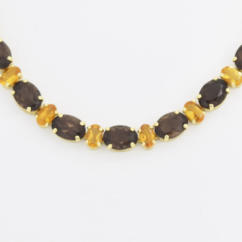 "14k Yellow Gold Estate 7.5"" Smoky Quartz & Citrine Link Bracelet"