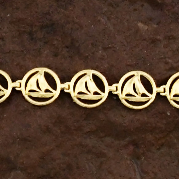 "14k Yellow Gold Estate Sailboat/Boat Link Bracelet 7"" Long"