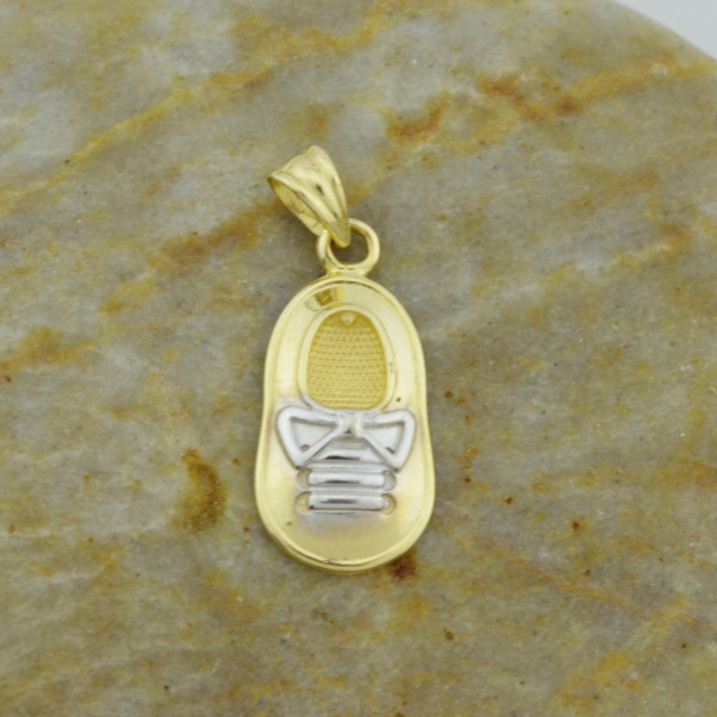 14k Yellow Gold Estate Baby Shoe/Booties Drop Pendant