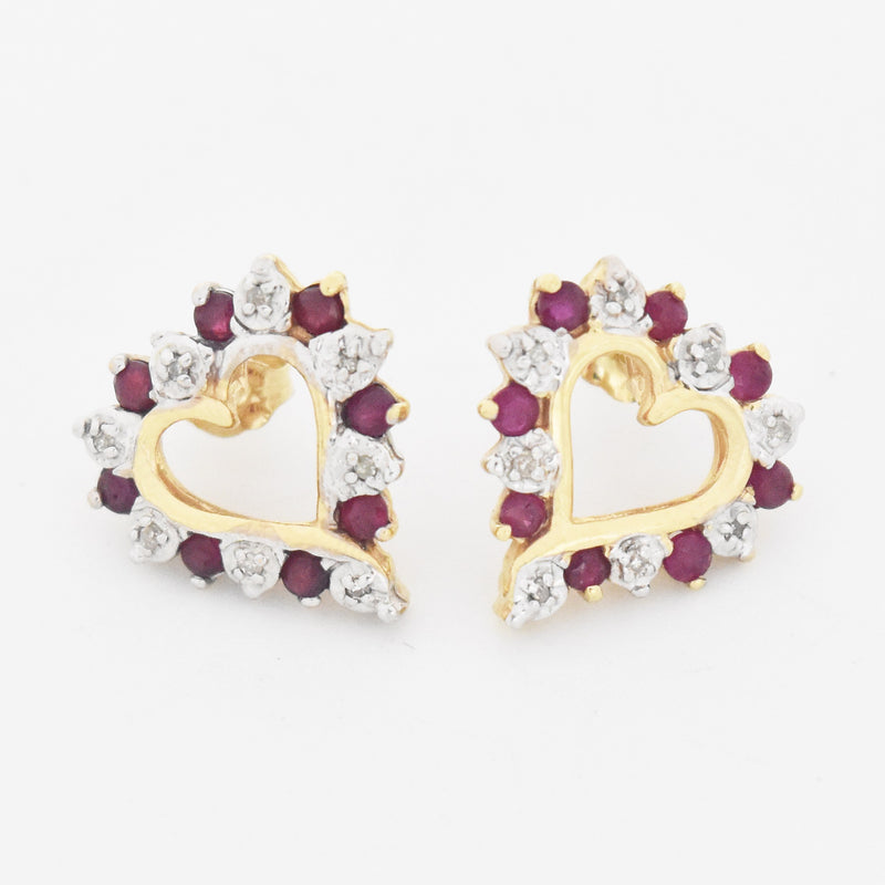 14k Yellow Gold Estate Open Heart Ruby & Diamond Post Earrings