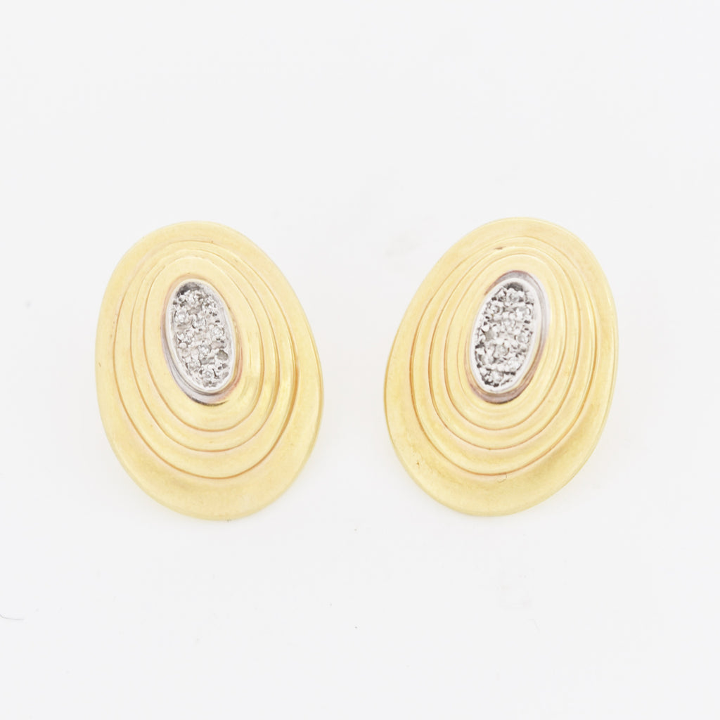 14k Yellow Gold Estate Diamond Oval Shell Style Post Earrings