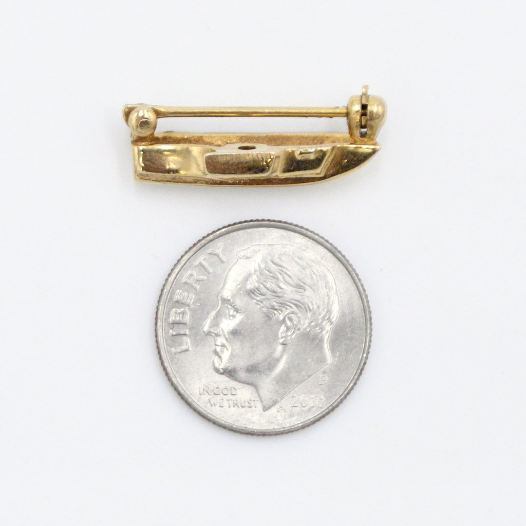 14k Yellow Gold Estate Textured Boat/Ship Pin