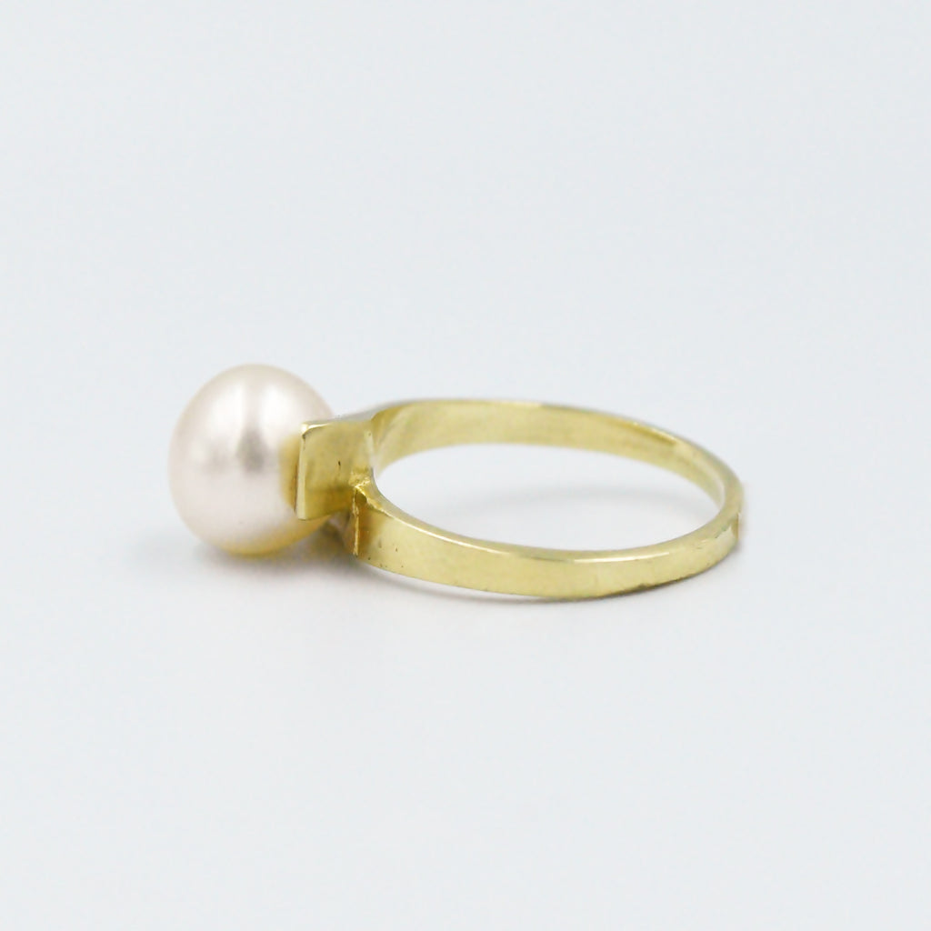 18k Yellow Gold Estate Modern Style Pearl Wrap Ring Size 5.5