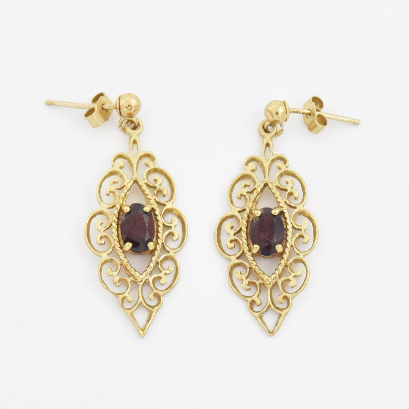 9k Yellow Gold Estate Garnet Filigree Drop/Dangle Post Earrings
