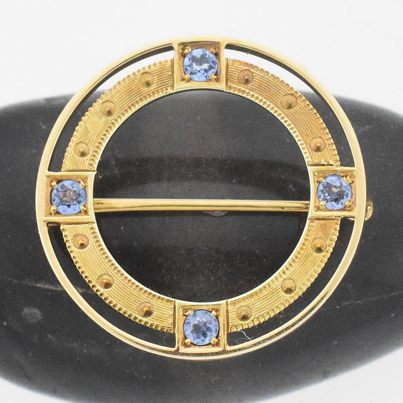 14k YG Antique Ornate Double Circle Sapphire Brooch