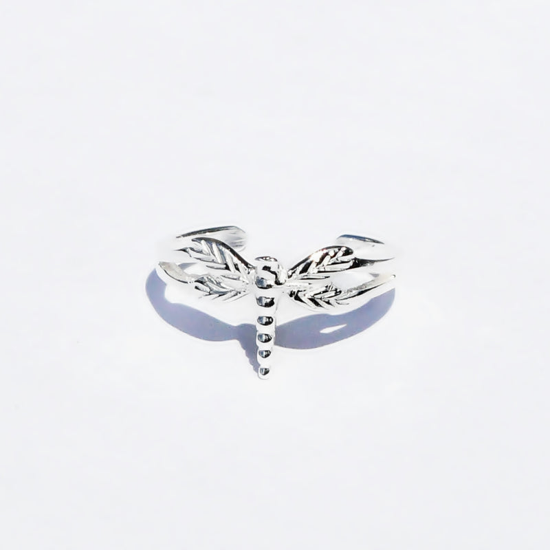 New Sterling Silver 925 Flying /Hovering Dragonfly Animal Toe Ring