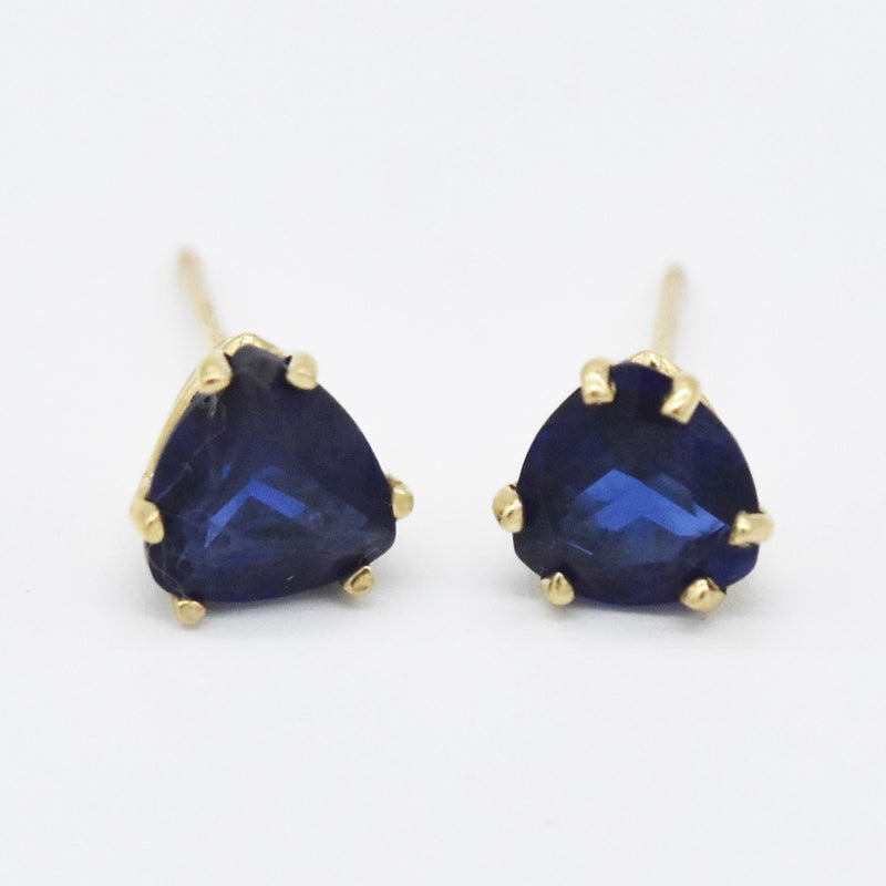 14k Yellow Gold Estate Trillion Shape Sapphire Post Earrings