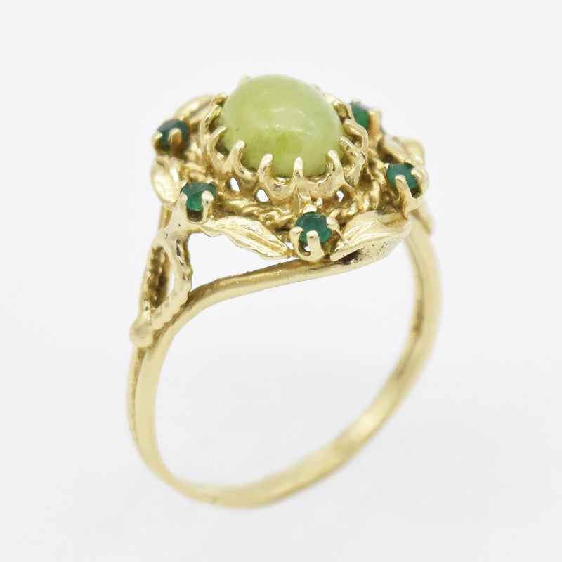 14k Yellow Gold Estate Open Work Jade & Emerald Ring Size 11
