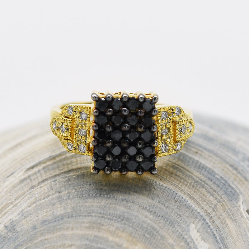 14k Yellow Gold Estate Textured Black & White Diamond Ring Size 6.75